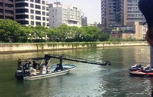 船舶撮影・カメラ船 クレーンを搭載したカメラ船